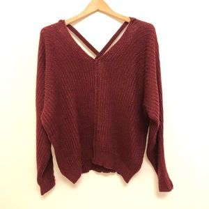 SHEIN burgundy sweater with back detail size M